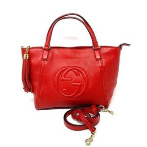 100% Auth Gucci Soho Red Calfskin Crossbody Bag